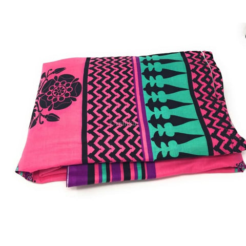 Image of 100% cotton Printed fabric pink base black print multicolour panel - fabric material Cotton Printed Overall Print Cotton Pink