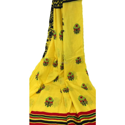 Image of 100% cotton Printed fabric yellow base black print multicolour panel - fabric material Cotton Printed Overall Print Cotton Yellow