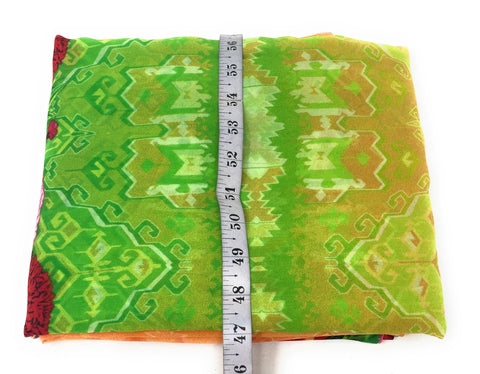 Ikat and Floral Printed in Green n Red on Georgette Fabric