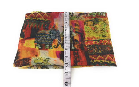 Multicolour Indian War Print Georgette Fabric
