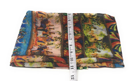 Multicolour Indian Art Print Georgette Fabric