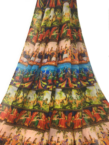 Image of printed georgette fabric