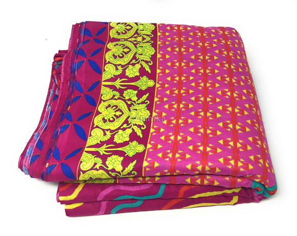 Pure Cotton, Printed colour fast leheriya design with panel, rani pink colour