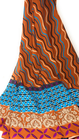 Image of Pure Cotton, Printed colour fast leheriya design with panel, brown colour