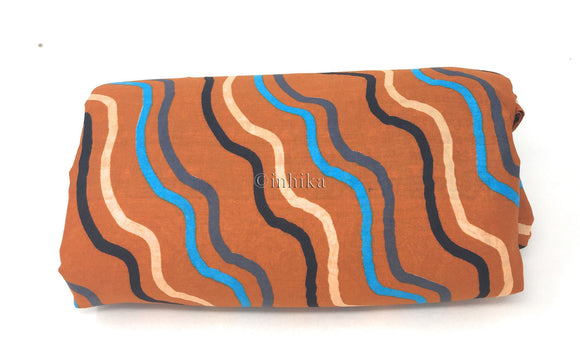 Pure Cotton, Printed colour fast leheriya design with panel, brown colour