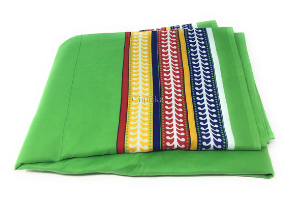 Pure Cotton, Printed colour fast fabric, solid green, multicolour panel