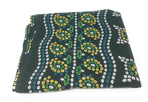 Pure Cotton, Printed colour fast fabric, Bandhni print, Bottle Green base