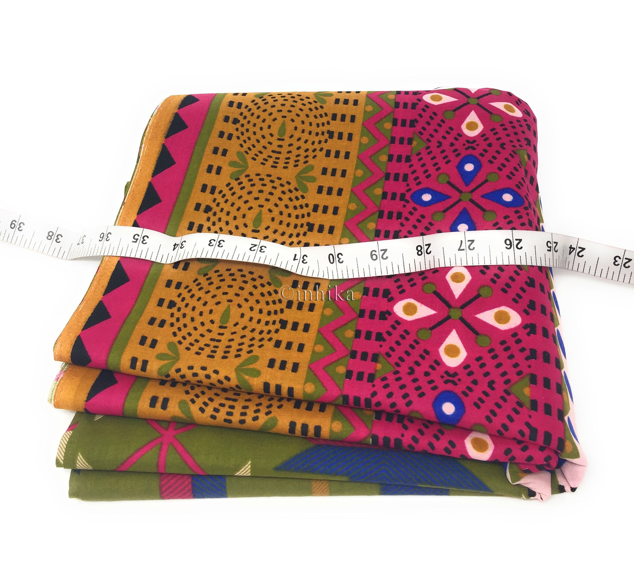 Pure Cotton, Printed colour fast fabric, art geometry print, mehendi green base, multicolour panel