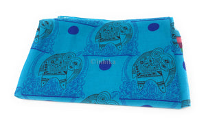 Pure Cotton, Printed colour fast fabric, teal blue base, elephant print
