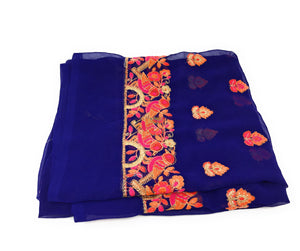 Georgette with Embroidery Fabric, Blue Material, Panel Work