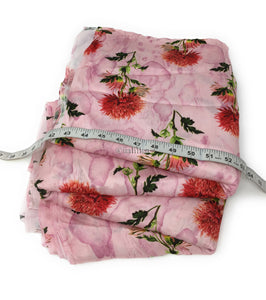 floral satin fabric in pink