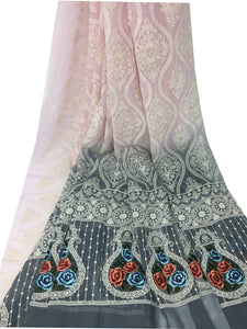 Rida Fabric, Lavender Georgette Embroidered Shaded Fabric