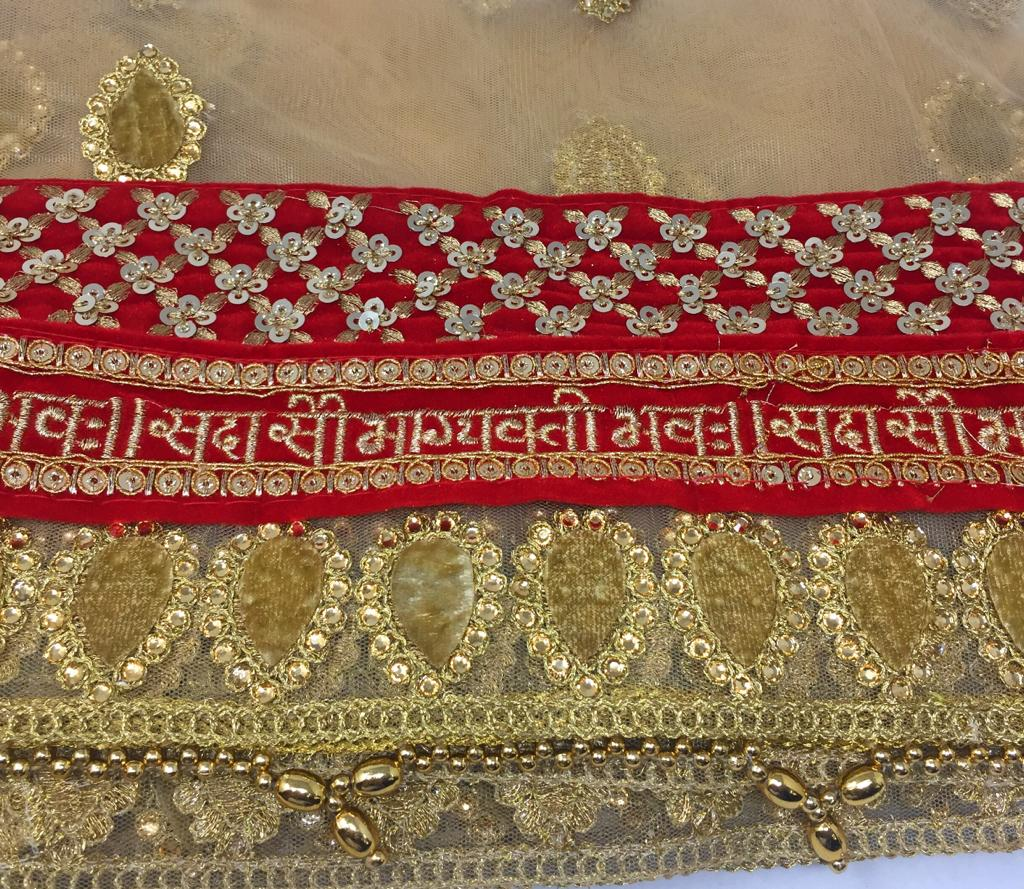 Gold / Beige Bridal Sada Saubhagyavati Bhav Dupatta For Wedding Dupatta