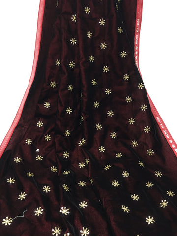 Image of Kurti Material Blouse Fabric by meter maroon velvet gold sequin embroidery