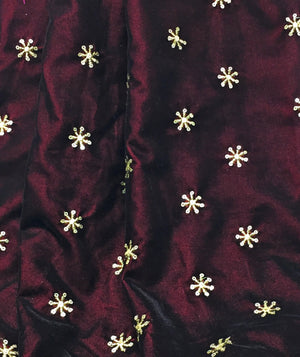 Kurti Material Blouse Fabric by meter maroon velvet gold sequin embroidery
