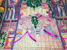 Load image into Gallery viewer, Embroidered Stole - Kantha Work on Madhubani Art Form
