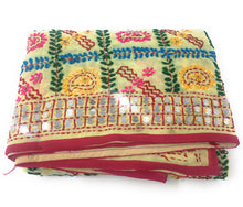 Load image into Gallery viewer, Lemon Yellow Phulkari Dupatta, Multi Colour Embroidery, Mirror Work