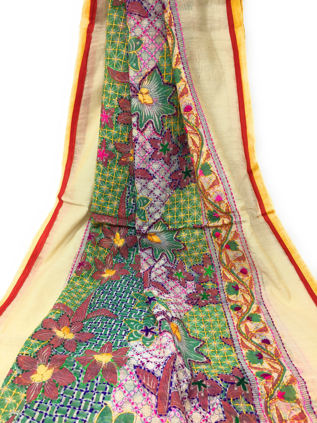 Full Embroidery Dupatta - Kanha Work on Madhubani Art