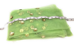 Green Tulle Fabric With Pearls