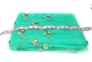 Sea Green Beaded Lace Fabric with White Pearls