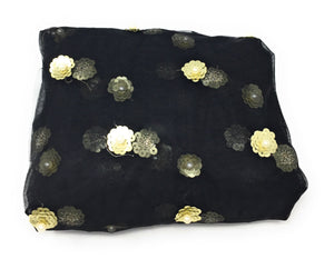 Black Beaded Fabric with White Pearls