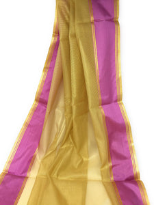 Golden Tissue Fabric with Mesh Pattern and Purple Border