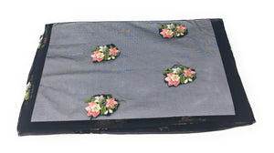 Soft Black Net Fabric with Floral Embroidery