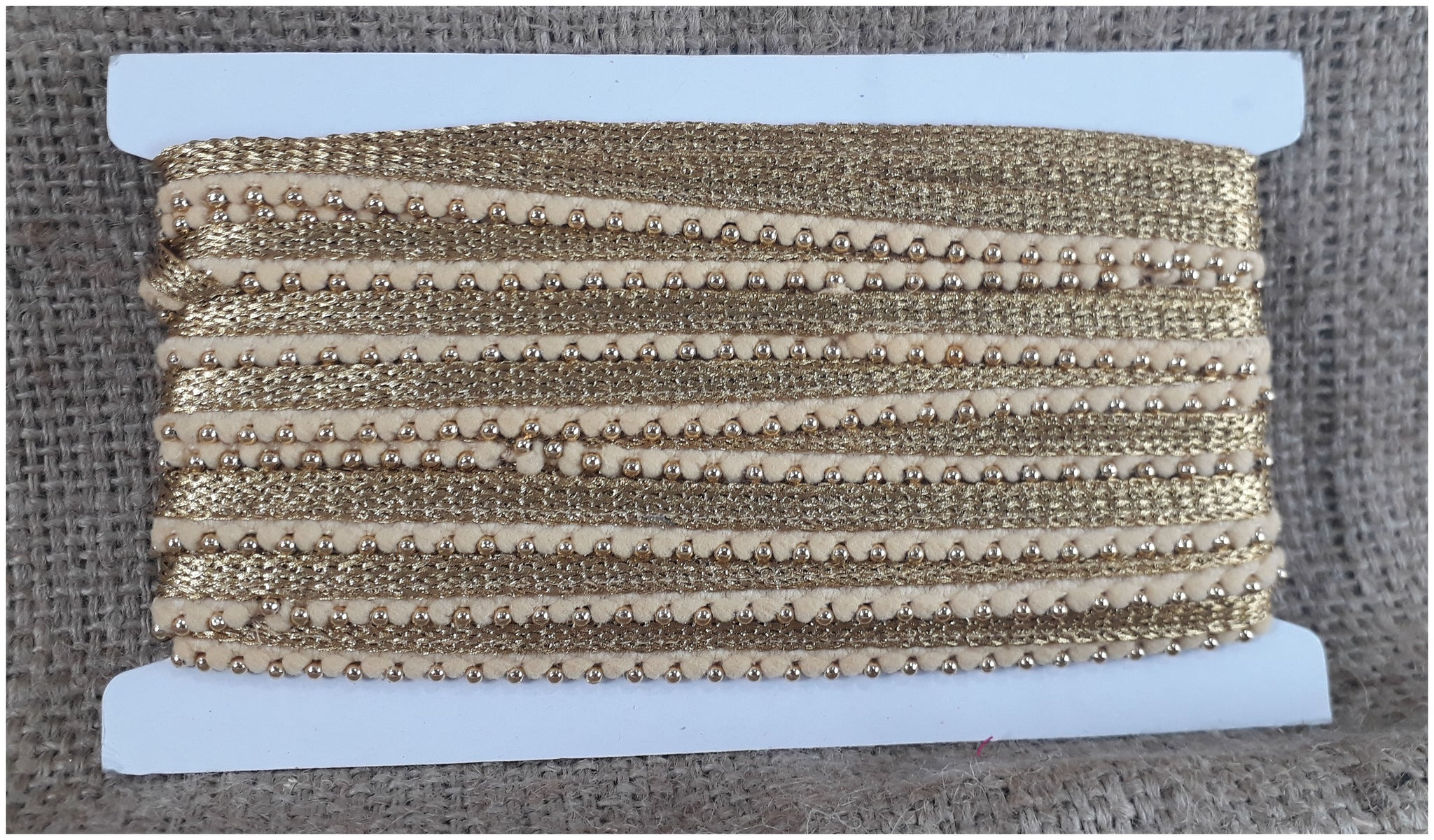 Beige Gold Decorative Fringe | Polyester Material| .35 inch wide | 9 yard roll - Inhika.com
