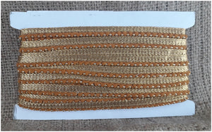 Ochre Gold Ball Fringe Trim | Polyester Material| .35 inch wide | 9 yard bolt - Inhika.com