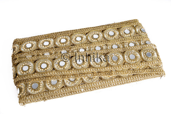Gold Antique Lace Trim in Cutwork n Mirror Work