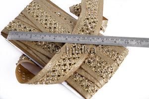 Copper Cutwork Beaded Trim | Polyester Fabric | 2 Inch Wide | 9 Meter Roll - Inhika.com