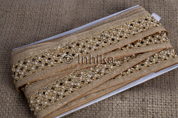 Copper Cutwork Beaded Trim | Polyester Fabric | 2 Inch Wide | 9 Meter Roll