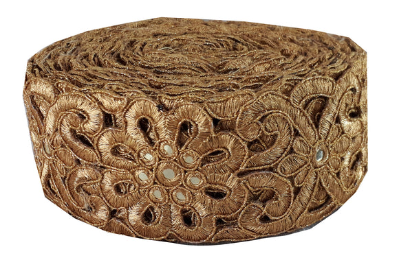 Dark Gold Cutwork Lace Border | Polyester Material | 2.2 Inch Wide | 9 Yard Bolt - Inhika.com
