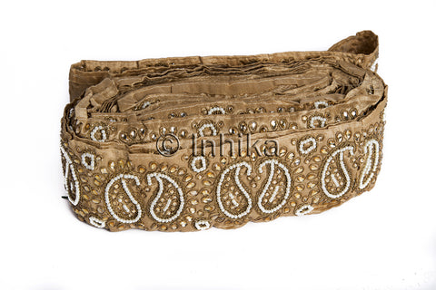 Image of Beige Gold Beaded Paisley Applique Border Trim | Cotton Mix Material | 3 inch Wide | 9 Meter Bolt - Inhika.com