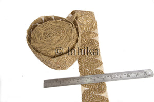 Gold Copper Embroidered Decorative Trim for Clothing | Net Mesh Fabric | 3 inch Wide | 9 Meter Roll - Inhika.com