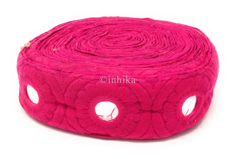 Image of 9 mtr lace border tirm rani pink embroidery on pink base faux mirror, 4.5cm wd