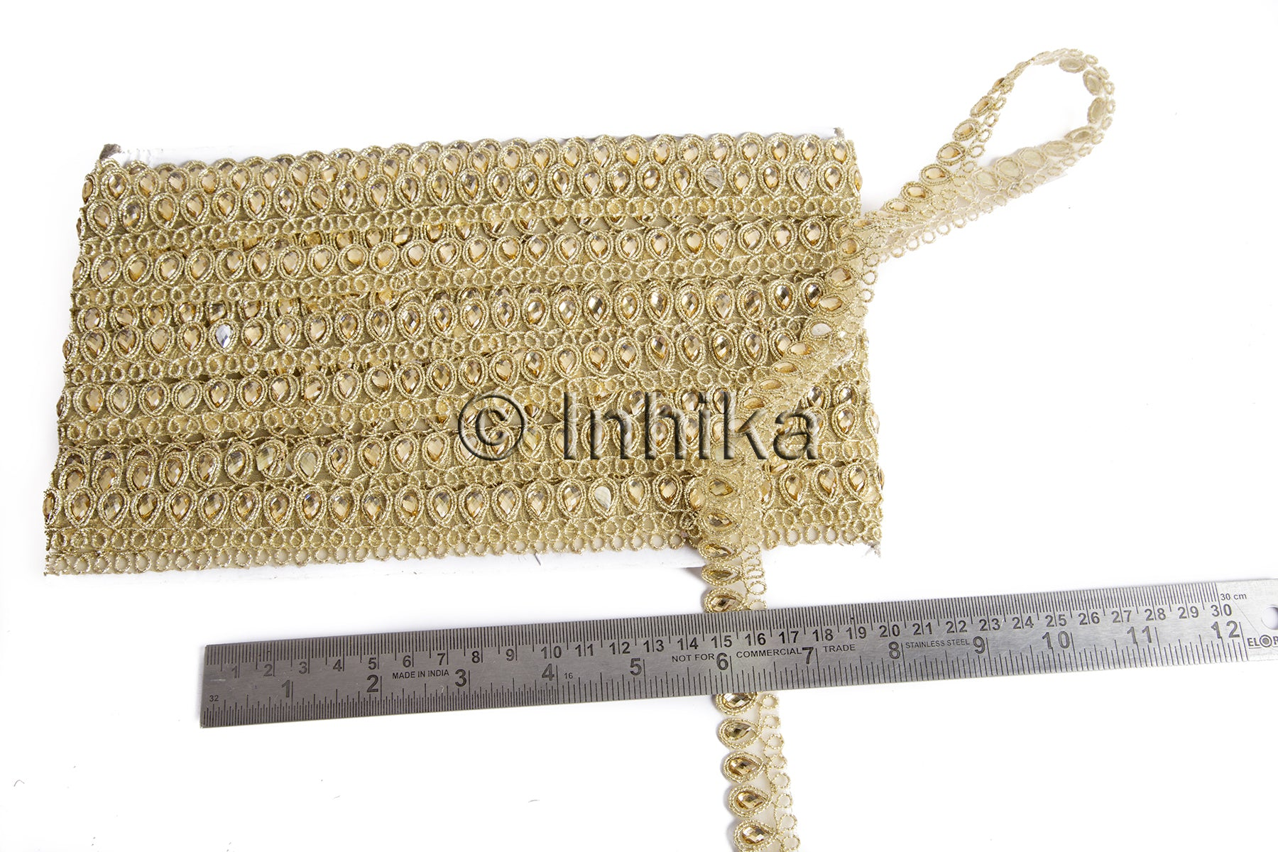 Thin Gold Edging Beaded Lace Trim | Tissue Fabric | .75 inch wide | 9 Meter Roll - Inhika.com