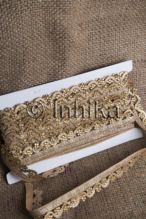 Edging Gold Trim for Sewing | Polyester Fabric | - Inhika.com