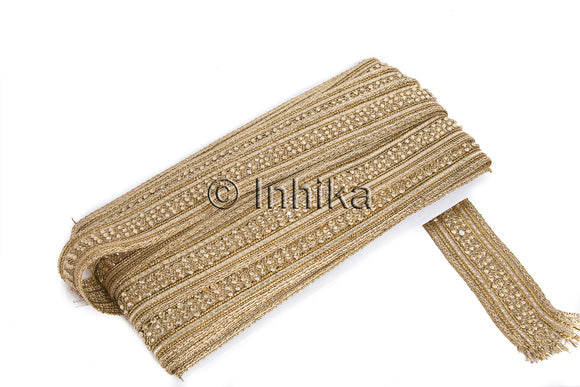 Gold Embroidered Braided Beaded Cutwork Border