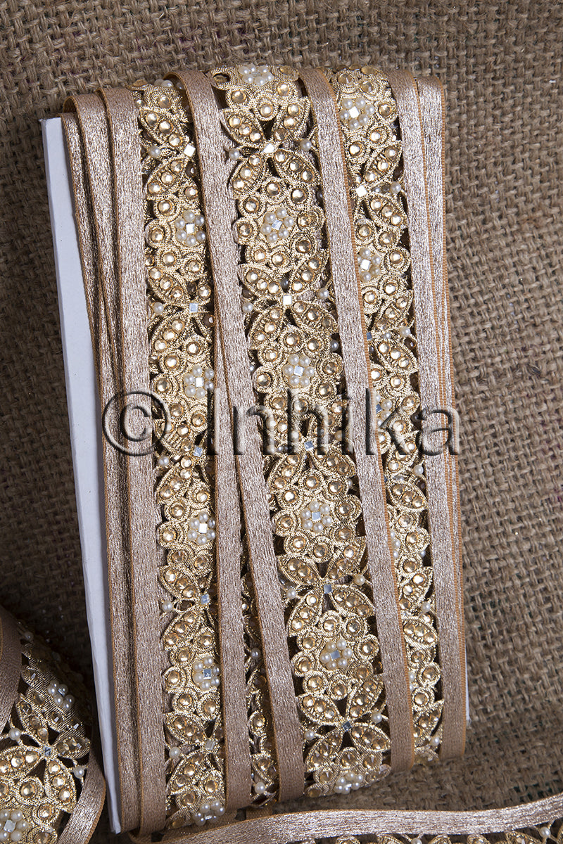 Copper Floral Cutwork Beaded Trim
