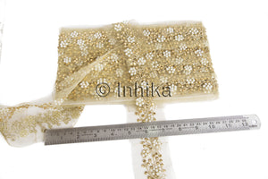 Floral Copper Beaded Guipure Edging Lace Trim | Cotton Mix Fabric | 2 inch wide| 9 Yard Roll - Inhika.com