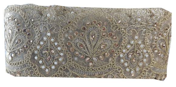Gold Floral Embroidered Beaded Edging Lace