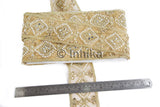 Gold Embroidered n Mirror Bridal Lace Trim | Tissue Fabric | 3.5 inch Wide | 9 Yard Bolt - Inhika.com