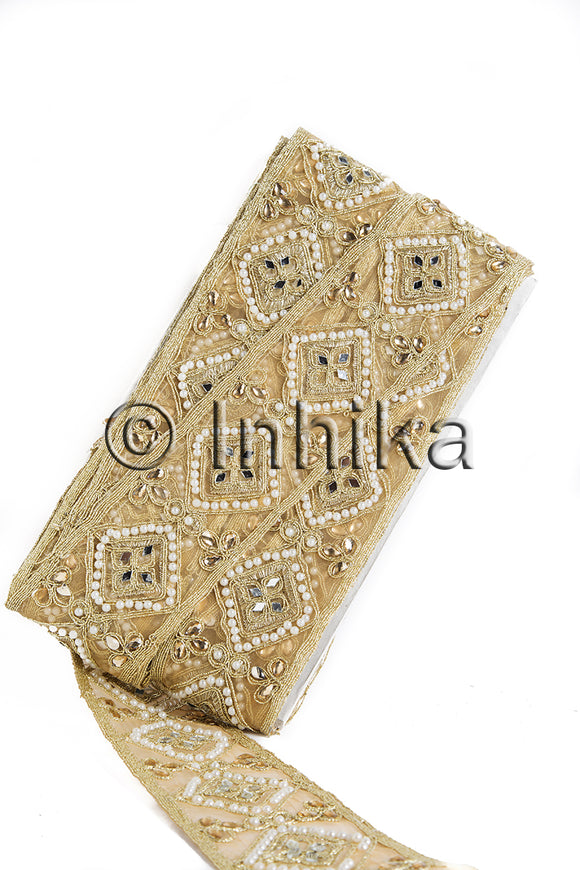 Gold Embroidered n Mirror Bridal Lace Trim