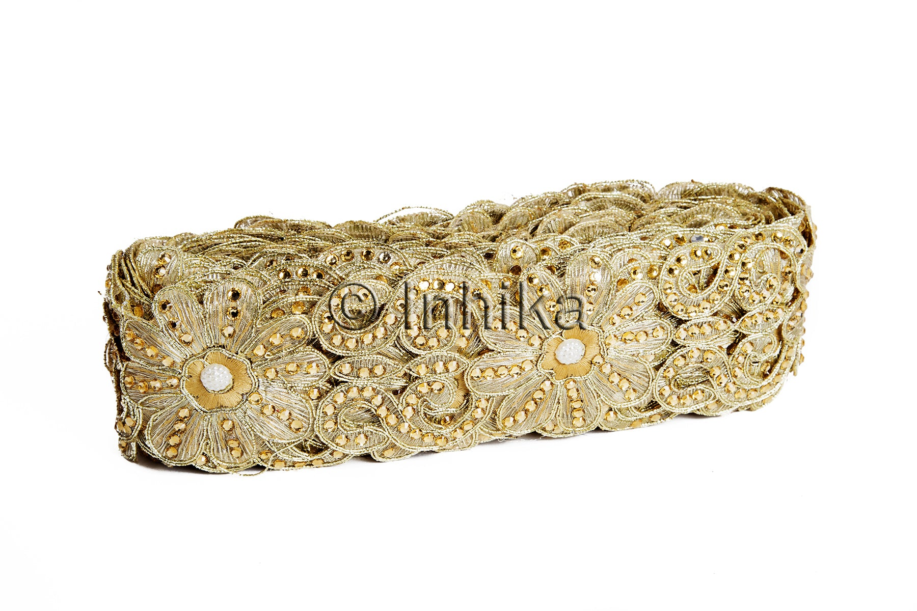 Gold Beige Floral Cutwork Beaded Embroidered Trim | Tissue Fabric | 2.2 Inch Wide | 9 Meter Roll - Inhika.com