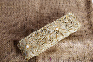Gold Beige Floral Cutwork Beaded Embroidered Trim