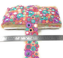 Load image into Gallery viewer, Mirror Work Border Lace With Pastel Multicolour Embroidery