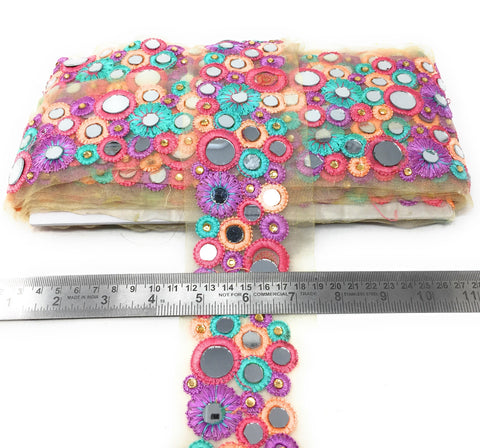 Mirror Work Border Lace With Pastel Multicolour Embroidery