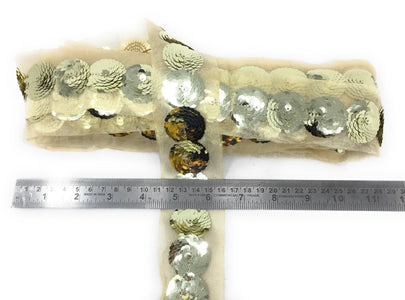 Light Gold Sequin Trim, 1 Inch Wide