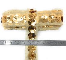 Load image into Gallery viewer, Copper Gold Sequin Trim, 1 Inch Wide
